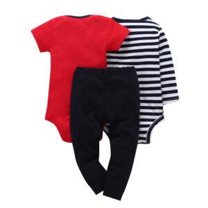 Baby Boy 100%cotton 3piece bodysuit Set – Red and Blue