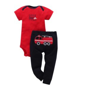 Summer Baby boy cotton 2 piece bodysuit Set – Red & Blue