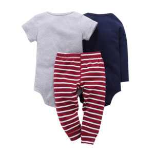 Baby Boy 100% Cotton 3pcs Bodysuit Set – Grey and Red