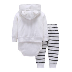 Spring Hooded Baby Zipper Suit 3 piece Set – White
