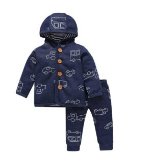 Spring Hooded Baby Boy Suit 2 piece Set – Blue