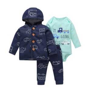 Spring Hooded Baby Boy Suit 3 piece Set – Blue