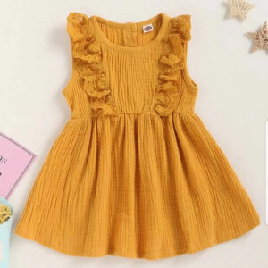 Summer Ruffle Trim Baby Girl Cotton Dress – Yellow