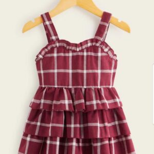 Baby Girl Cotton Layered Ruffle Hem Cami Dress – Burgundy