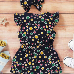 Summer Beautiful Baby Girl Colourful Polka Dot Jumpsuit with Headband