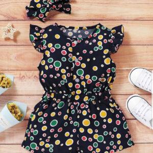 Summer Beautiful Baby Girl Colourful Polka Dot Jumpsuit with Headband