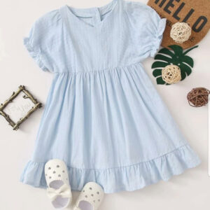 Summer New Beautiful Baby Girl Cotton Dress- Baby Blue