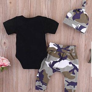Summer Baby Boys Cotton Letter Print Tee & Camo Print Pants with Hat Bodysuit 3 piece set