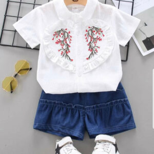 Summer Beautiful Baby Girl Ruffle Blouse and Shorts