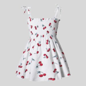 Baby Cherry Allover Print Strappy Dresses