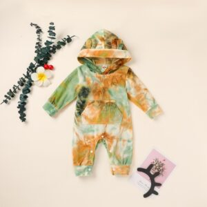 Baby Tie-Dyed Hooded Jumpsuit – Green