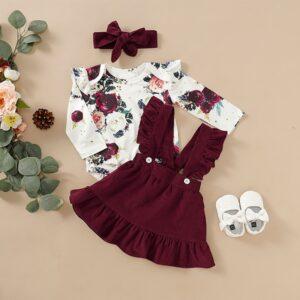 Baby Girl Floral Print Bodysuit, Suspender Skirt and Headband 3pcs Set