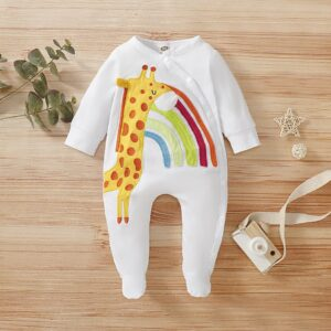 Baby Girl/ Boy Deer Rainbow Coverall – White