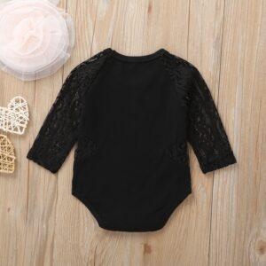 Baby Girl Lace Hollow Design Long-sleeve Bodysuit – Black