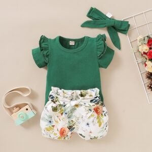Short-sleeve Top and Shorts with Headband Set