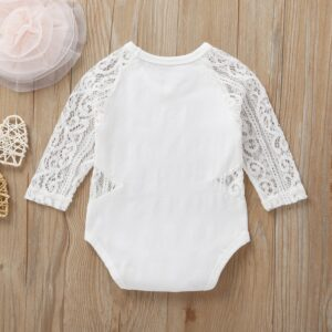 Baby Girl Lace Hollow Design Long-sleeve Bodysuit – White