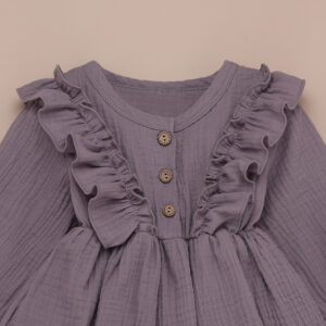 New Beautiful Baby Girl Muslin Ruffle Trim Cute button Dress