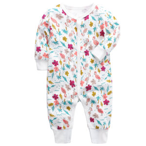 100% Cotton High Quality Baby Girl Beautiful Print Coverall