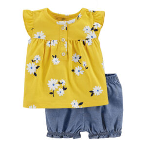 High Quality 100% Cotton Girls Beautiful 2 piece Shorts Set – Yellow and Blue