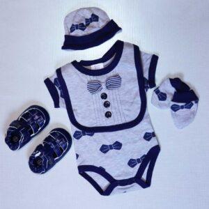 Baby boy cotton bodysuit 3 piece set – Grey