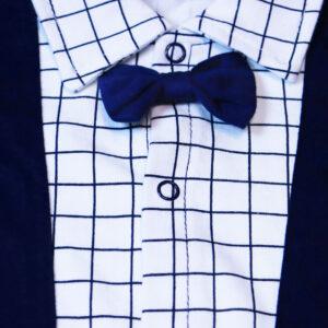 Summer Short Sleeve High Quality Baby Romper – White & Blue