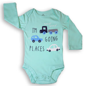 Baby Boy Cotton Long Sleeve bodysuit – Teal Green