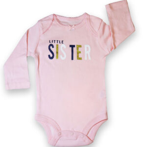 Baby Girl Cotton Long Sleeve Bodysuit – Pink