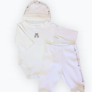 Baby cotton suit 3 piece set – White
