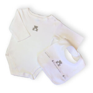 Baby cotton bodysuit 2 piece set – White