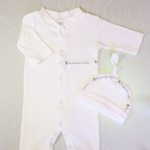 Baby cotton coverall 2 piece set – White