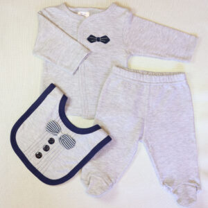 Baby boy cotton suit 3 piece set – Grey