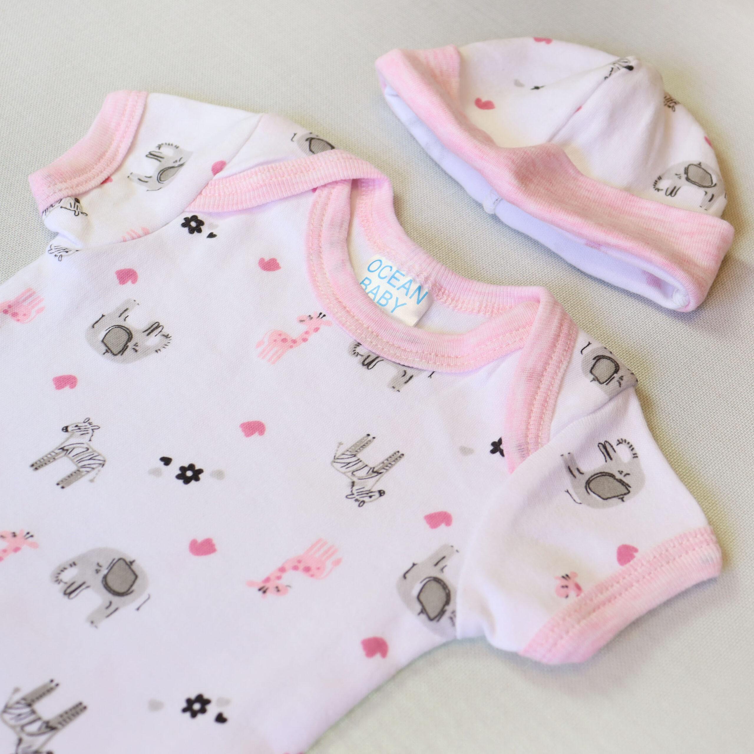 Baby girl cotton bodysuit 3 piece set – White