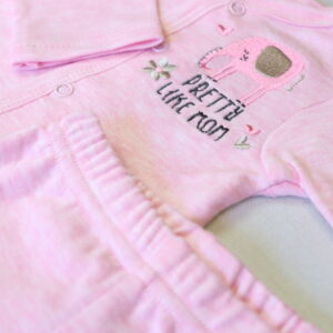 Baby Girl Cotton Suit 3 piece Set – Pink