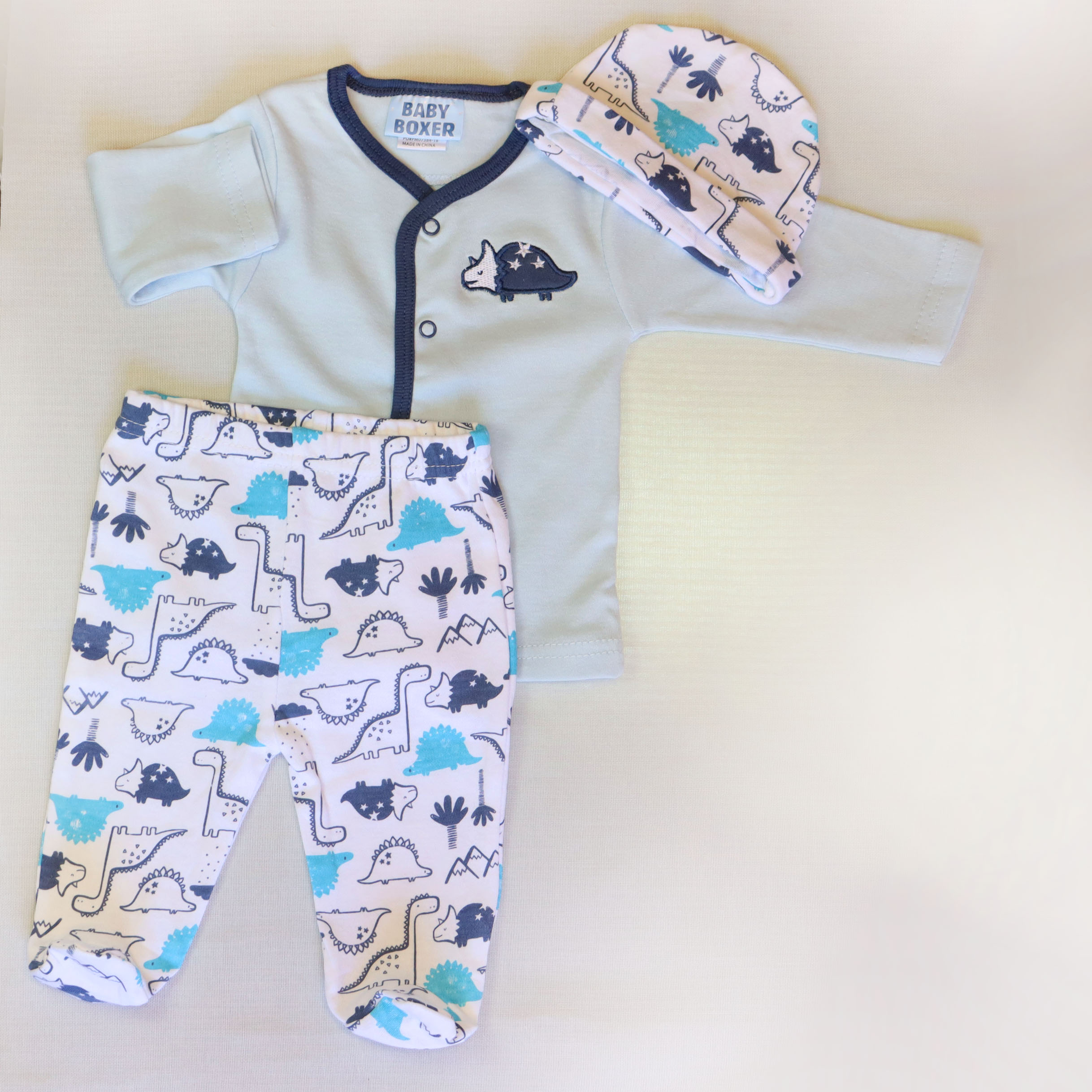 Baby boy cotton suit 3 piece set – White & Blue