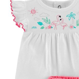 High Quality 100% Cotton Girls Beautiful 2 piece Shorts Set – White and Pink