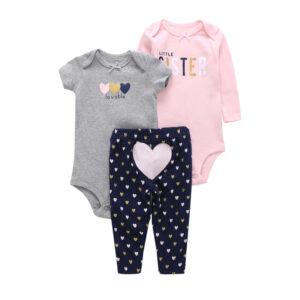 Summer Baby Girl Cotton 3 Piece Bodysuit Set – Grey and pink