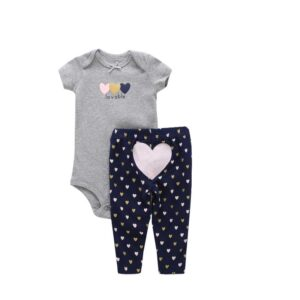 Summer Baby Girl Cotton 2 Piece Bodysuit Set – Grey and pink
