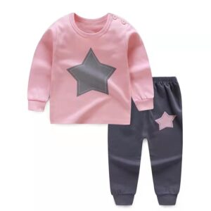 High Quality 100% Cotton Girl Suit 2 piece Set – Pink and Grey