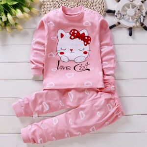 High Quality 100% Cotton Girl Suit 2 piece Set – Pink