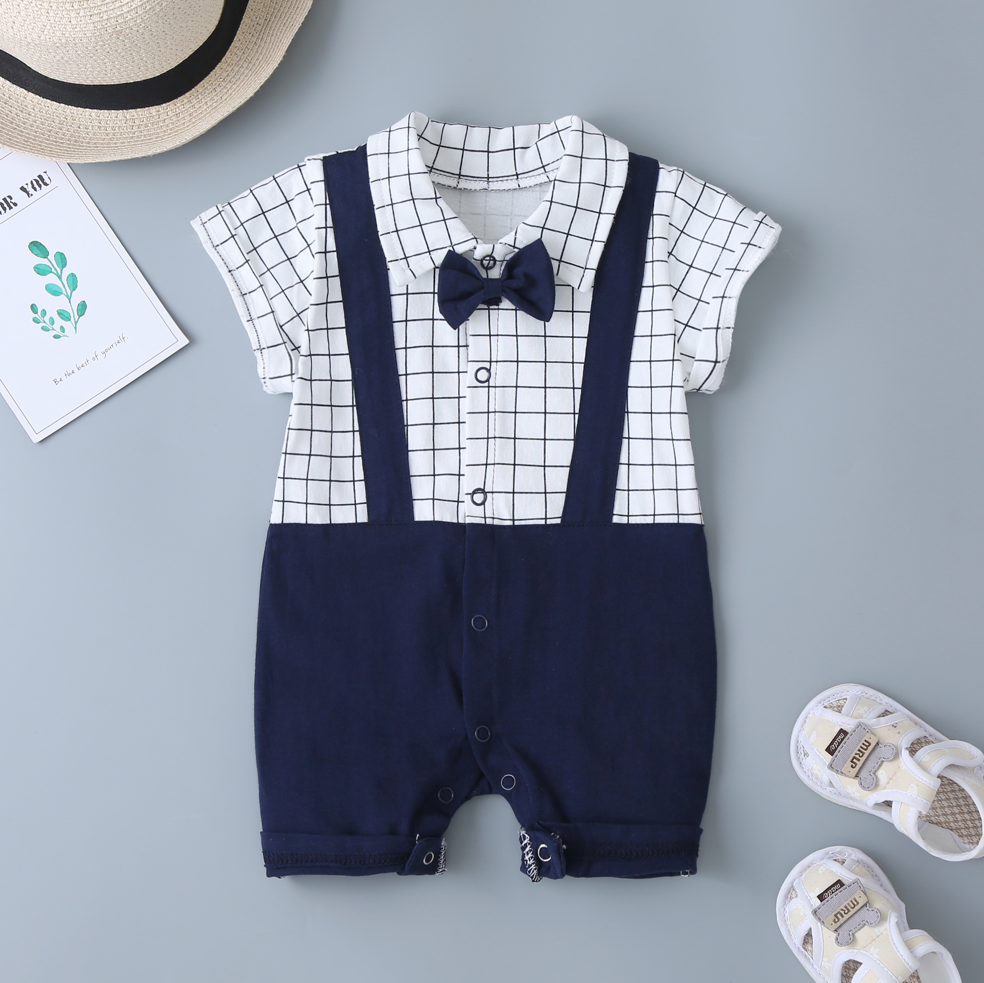Summer Short Sleeve High Quality Baby Romper – White & Blue