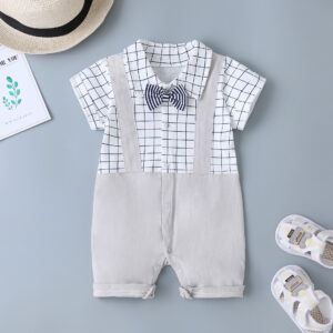 Summer Short Sleeve High Quality Baby Romper – White & Beige