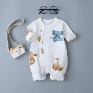 Baby Girl/Boy High Quality 100% Cotton Animal Print Bodysuit – White