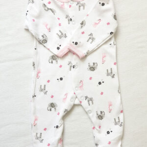 Baby girl cotton coverall – White