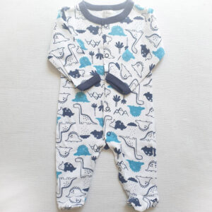 Baby boy cotton coverall 3 piece set – White