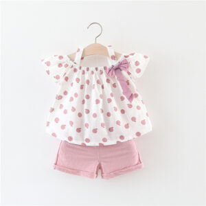 Girls Summer cotton 2pcs top & shorts Outfit