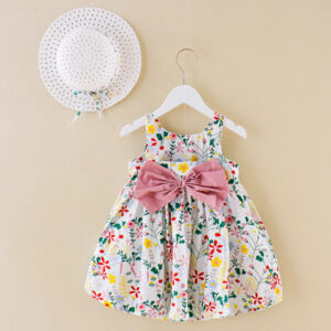 Baby Girls Summer Dress 100% Cotton With Hat