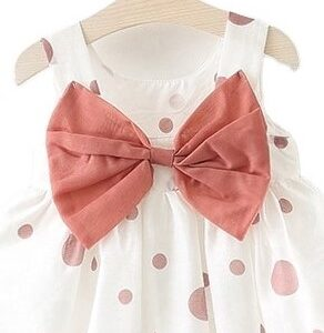 Baby Girls Summer Dress With Pink Dots 100% Cotton