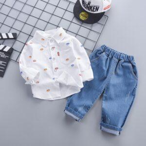 Car Printed Shirt Denim 2pcs Set