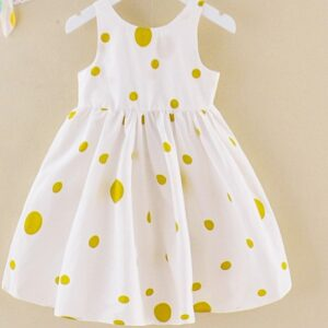 Baby Girls Summer Dress With Yellow Dots 100% Cotton