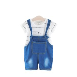 2pcs Denim Overall and t-shirt set is perfect In Summer